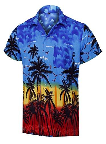 c3f1eb9c0f Men s Hawaiian Shirt Coconut Tree Print Short Sleeve Blue Aloha Vacation  Shirts