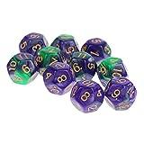 MagiDeal 10 Pcs 12-seitig 12mm Polyedrische Würfel Set aus Acryl - Bunte Würfel mit weißen Punkten - Tischspiele Zubehör für Mathe Spiele, Dungeons und Drachen - Grün + Lila