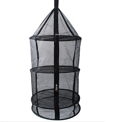 Gazechimp 4 Schichten Windundurchlässiges, Faltbares und Hängendes Trockennetz - Hanging Netz Trockner Net, perfekt für Gemüse, Fischgerichte Outdoor Camping, Picknick Speicher Korb (Schwarz) -
