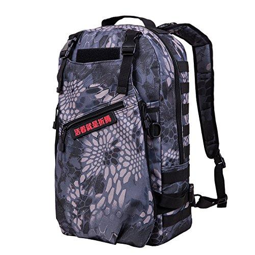 Esterno doppio multifunzionale borsa a tracolla Borsa sportiva di grande capienza zaino viaggio computer outdoor alpinismo il sacchetto 50*30*15cm,CP camouflage Nero pitone