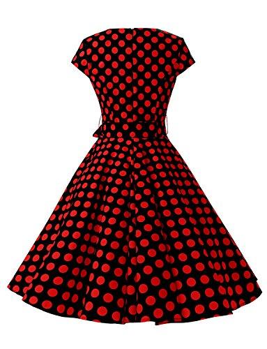 Dressystar Vintage Kleid 50er Jahre Rockabilly Swing Schwarz Rot Dot - 4
