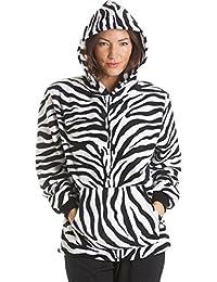 Camille - Conjunto de pijama con capucha para mujer - Forro polar - Estampado de cebra