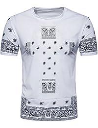 BaronHong Mens Hipster Hip Hop Imprimé Hemline Crewneck T-Shirt à Manches Courtes