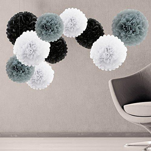 10er Grau / Weiß / Schwarz Pompoms tissue Papierkugel Blume für Party Hochzeit als Garten Deko Kinderzimmer Deko ø25cm & 35cm