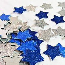 Confetti Etoile Papier Pailleté Argent, Pailleté Bleu, 100 Pièces