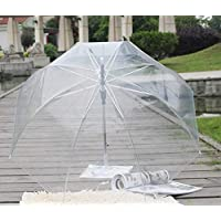 Payonr Home Helper Automatic Transparent Umbrella,Festival Decor Dome See Through Long Handle Transparent Umbrella for Wedding Windproof White Handle