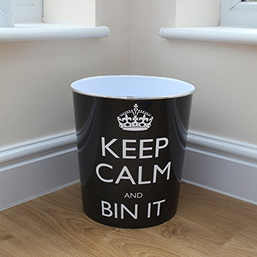 """prezzo JVL – Cestino per la carta con scritta""""Keep calm and bin it"""", 25 x 26,5 cm, nero."""