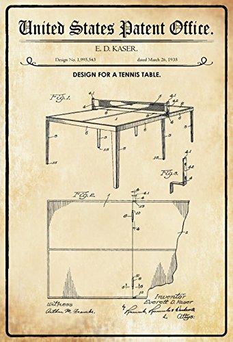ComCard US Patente - Design for a Tennis Table - Entwurf für einen Tischtennis Tisch - Kaser - 1935 - Design No 1.995543 - Schild aus Blech, Metal Sign, tin