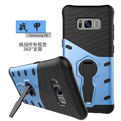 YHUISEN Hybrid Tough Rugged Dual Layer Rüstung Schild Schützende Shockproof mit 360 Grad Einstellung Kickstand Case Cover für Samsung Galaxy S8 ( Color : Black ) Blue