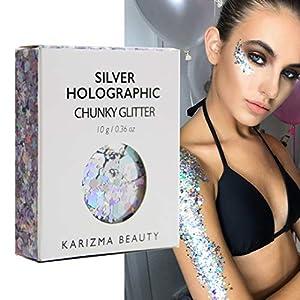 Klobiger Glitzer in Silber Holographisch // Karizma Beauty Festival Glitter Gesicht glitzern Karosserie Haar Kosmetisch 10g