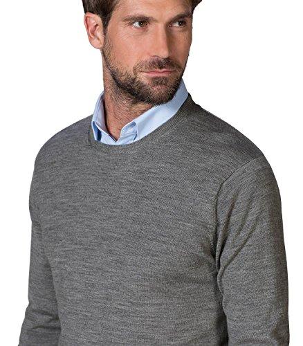 WoolOvers Nouveautés - Pull à col rond - Homme - Mérinos Grey Marl