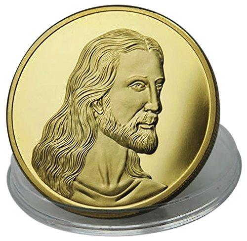 Moneta Gesù Cristo l'ultima cena di Leonardo da Vinci - placcato in oro 24 carati 99,9% - dono cristiano perfetto - dono religioso o regalo di Pasqua - 28 grammi - 4,0 cm monete - Gratis l'astuccio e un borsellino di velluto - spedito da Amazon
