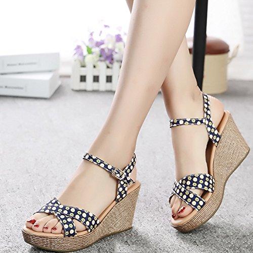 Confortevole Pendenza con i sandali dei sandali delle donne sandali dei sandali di modo di stampa dei sandali casuali Sottili casuali del sandalo (2 colori opzionali) (formato facoltativo) È aumentato B