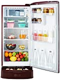 LG 190 L 4 Star Direct-Cool Single Door Refrigerator (GL-D201ASOX.ASOZEBN, Scarlet Orchid,Base Stand with Drawer,Inverter Compressor)