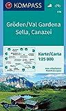 KOMPASS Wanderkarte Gröden, Val Gardena, Sella, Canazei: Wanderkarte mit Radrouten. GPS-genau. 1:25000.: Wandelkaart 1: