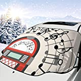 N/A Cartoon Antique Old Vintage Radio Music Box Party with Notes Artwork Car Front Windshield Cover Foldable Sunshade Fits Most Cars, Trucks, SUV's
