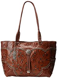 American West Carry-On Hand Tooled Carry-On,Tan/Turquoise,One Size