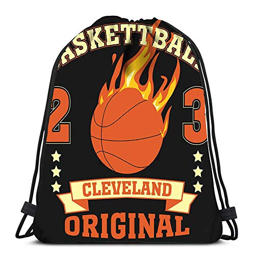 Randell Gym Drawstring Backpack Sport Bag Cleveland Ohio Sport Basketball Burning Ball Champion College Team Lightweight Shoulder Bags Travel College Rucksack for Women Men -