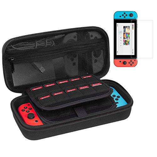 Stoff Gepolstert, Der Kleinen Bank (Tobbiheim Schutztasche für Nintendo Switch, Reisetasche / Aufbewahrungstasche mit Erweiterten Aufbewahrungshalter für 29 Spiele, Kettentasche mit Reißverschluss für Zubehör - Schwarz)