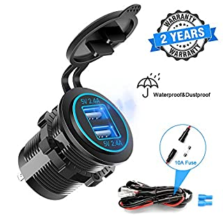 Dual USB Fast Charger Socket, Waterproof Power Outlet 4.8A with LED Voltmeter+Wire Build In 10A Fuse DIY Kit for 12V/24V Marine Boat Golf Cart Truck Motorcycle More, Blue LED Display