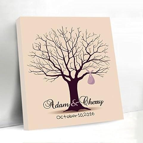 Árbol lienzo libro de visitas boda Huella Dactilar almohadilla de tinta de huellas dactilares único personalizado nombre y fecha para novia ducha