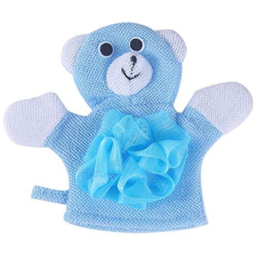 Baby Badetuch, LeeMon Compound Cotton  Kinder Baden  Reiben Sie Handschuhe Körper Dusche waschen Puff Mesh Handtuch (Blau) - Kinder-körper-waschen