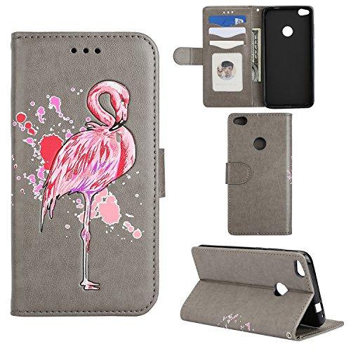 Huawei P8 lite 2017 Hülle, Huawei P8 lite 2017 Grau Lederhülle, BONROY Luxus Bling Flamingo-Muster PU Leder Flip Ledertasche Wallet Tasche Kartensteckplätze Leder Brieftasche im Bookstyle Klapphülle Handyhülle mit Magnetverschluss und Standfunktion Schutzetui Schale Etui Cover Case Schutzhülle für Huawei P8 lite 2017