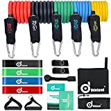 Odoland 16 pcs Resistance Bands Set Workout Bands, Heavy Exercise Bands Fitness Bands with Door Anchor, Ankle Strap, Resistance Loop Bands for Gymnastics by Odoland