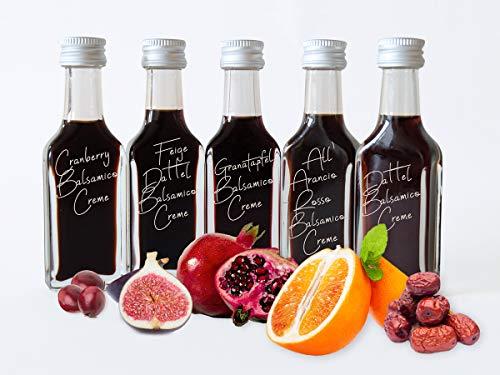 Balsamico Creme Probierset 5 x 20 ml ● Feige Dattel Cranberry Granatapfel ● Fruchtessig für Pizza ● Dressing dickflüssig
