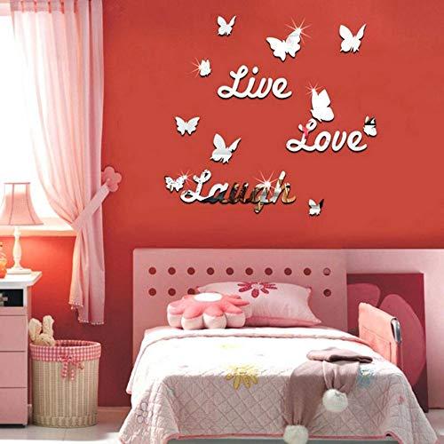 Wandaufkleber Live Laugh Love Quote Entfernbare Wandkunst Aufkleber Spiegel Aufkleber DIY Room Decor D hausgarten küche zubehör dekorative aufkleber wandbilder -