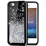 Coque iPhone 5/5S/SE,KOUYI Luxe Flottant Liquide Noir Étui Protecteur TPU Bumper...
