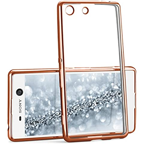 La caja del cromo para Sony Xperia M5 | Funda de silicona transparente con efecto metálico | Protección de celda fina bolsa de OneFlow | Backcover en