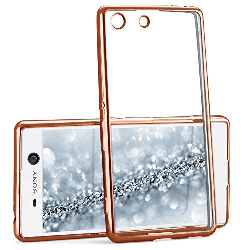 Chrome Case für Sony Xperia M5 | Transparente Silikon Hülle mit Metallic Effekt | Dünne Handy Schutz Tasche von OneFlow | Back Cover in Rose