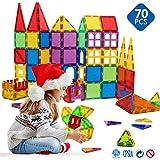 Magblock Magblock QSA-09 Magnetic Building Blocks Preschool Magnet Set Magnetic Stem Toys 70 Piece, Multicolor