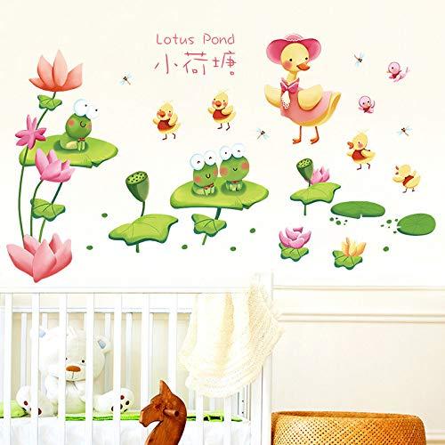 MEIWALL Cartoon Fisch Badezimmer Glas kleine Lotus Teich Wandsticker Wandaufkleber für Kinder Kinderzimmer Schlafzimmer Wohnzimmer Küche Kinderzimmer Wand Kunst Dekor Aufkleber