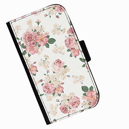 Hairyworm - Hübsche rosa Blumen Blackberry Passport Leder Klapphülle Etui Handy Tasche, Deckel mit Kartenfächern, Geldscheinfach und Magnetverschluss.