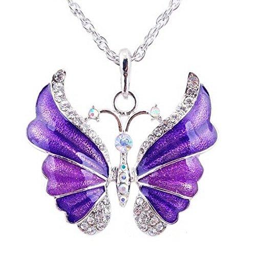 Sautoir argenté papillon strass multicolore Violet