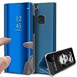 Huawei P10 Hülle, Huawei P10 Lite/P10 Plus Hülle Mirror Case Spiegel Handyhülle PU Leder Flip Case Cover Schutz Echtleder Tasche Etui Lederhülle Schutzhülle für Huawei P10 (Blau, Huawei P10 Lite)