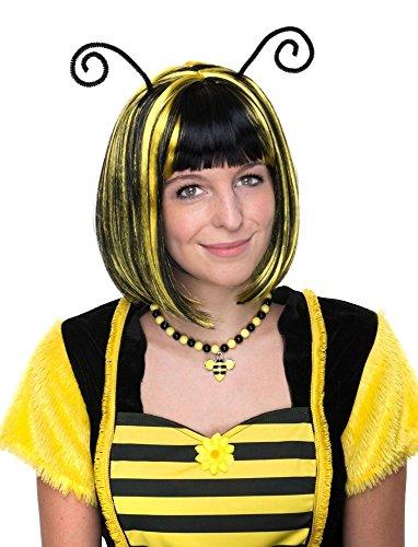 Perücke zum Bienen Kostüm mit Fühlern - Schwarz Gelb - Schöne Kurzhaar Bob Perücke gestreift zu Karneval Mottoparty Festival ()