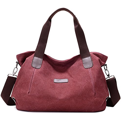 Frauen Hobo Schultertasche Canvas Tote Bag Fashion Casual Tägliche Geldbörse Shopper Taschen,Red - Fashion Hobo Tote