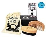 MADAMARI BEARDS - Hochwertiges Bartpflege Set - Bartbürste mit Wildschweinborsten inklusive Holzkamm - Perfekte Kombination für den modernen Mann - Stylische Geschenkidee - Reiseset mit Magnetbox und Beutel