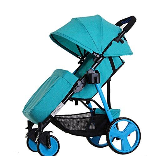 Qianle Steel Tube Frame Shockproof Baby Stroller Adjustable Pram Pushchair With Feet Cover Blue