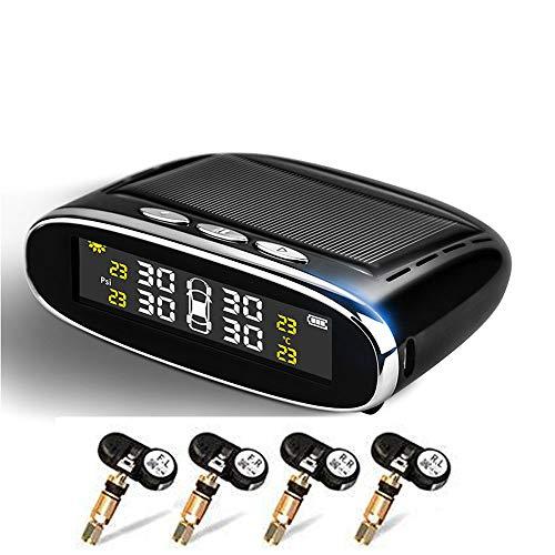 Auto-Reifendruck-Kontrollsystem, Solar Power Wireless LCD-Anzeige, digitales Tpms-System, Reifendruckanzeige mit 4 internen Sensoren für Auto