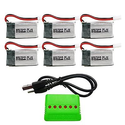 BTG 3.7V 350mAh Battery & X6 Charger for HS170 F180C Syma X11 JJRC H6D H6C 1000 Hubsan H107C H107D H107L H108 JXD392 388 Wltoys V939 V252 V931 UDI U816A Walkera Super Mini Genius CP xk x100 M61X M62R