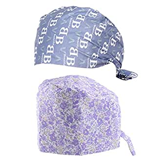 ... MagiDeal 2 Pieces Nurses Doctors Floral Scrub Cap Medical Surgical Hat  Cap Lace Up c5ebe5a0098