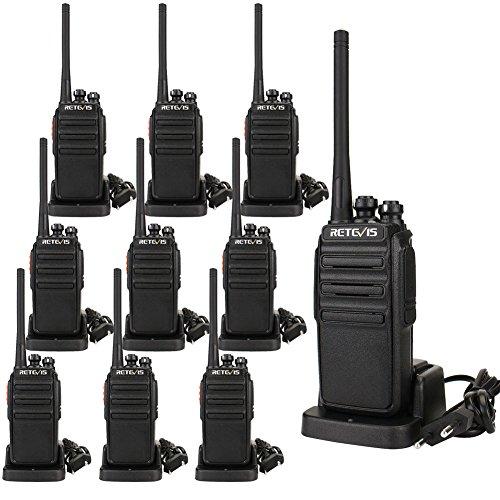 Retevis RT24 Walkie Talkie PMR Funkgerät Set 16 Kanäle UHF EU-Standardstecker Wiederaufladbar Funkgerät mit Headset (5 Paar, Schwarz)