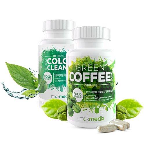 Green Coffee + Intense Colon Cleanse Duopack | Effekitv Abnehmen | Natürlicher Gewichtsverlust | Detox und Darmreinigung | Regt die Fettverbrennung und die Verdauung an | Nahrungsergänzungsmittel