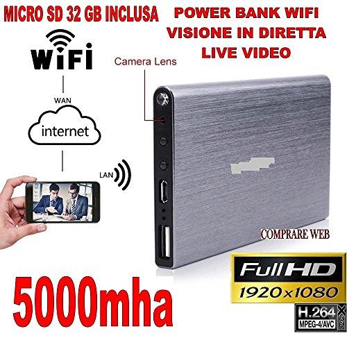 POWER BANK WIFI 3G + MICRO SD 32 GB VIDEOSORVEGLIANZA MICROSPIA TELECAMERA NASCOSTA P2P IP 1920x1080P HD 5000mha CW162