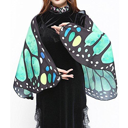 Dorical Hot !!! Clearance Schmetterlingsflügel-Schal mit einem Halsring Armband Weiche Stoff Schmetterlingsflügel Schal Fee Damen Nymph Pixie Kostüm Zubehör
