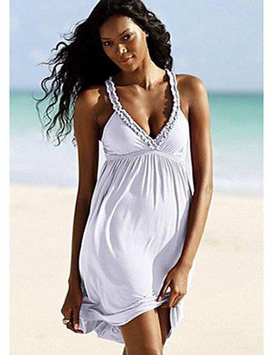 PU&PU Robe Aux femmes Ample Sexy,Couleur Pleine A Bretelles Mini Polyester WHITE-M